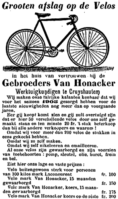 veloverkoop vanhonacker